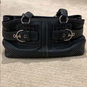Coach Black Pebbled Leather Shoulder Bag